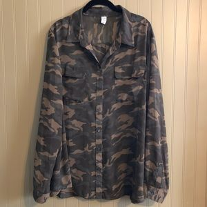 Old Navy Sheer Camo Button Down